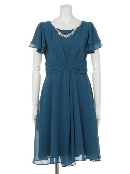 INTERPLANET (インタープラネット) 2枚袖センタータックドレス グリーン
