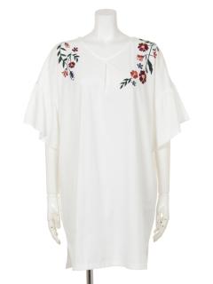 刺繍/袖フリルチュニック