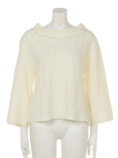 前身ケーブル衿装飾袖フレアーPO