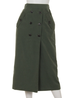 ポプリン釦付ロングスカート