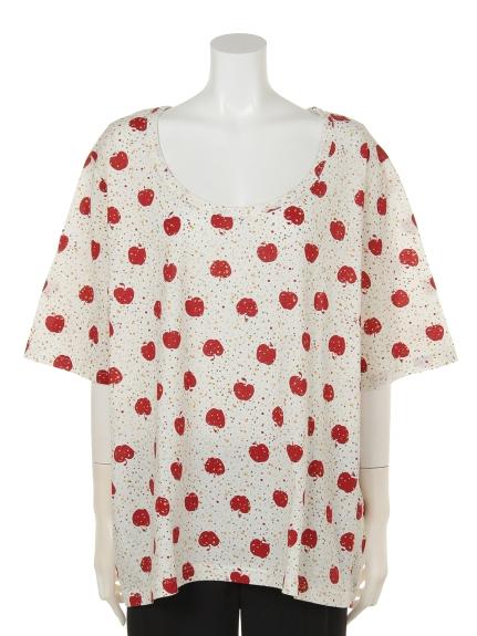 QUINTY (クインティ) アップルプリントTシャツ レッド