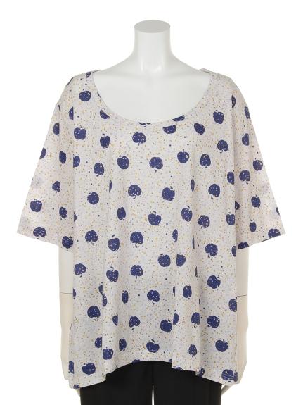 QUINTY (クインティ) アップルプリントTシャツ ブルー