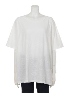 花柄タックジャガードTシャツ