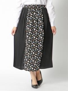 花プリント切り替えプリーツスカート