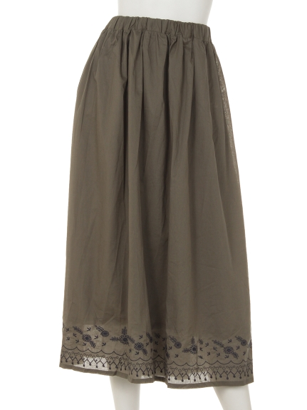 Tasha ruby (ターシャルビー) 裾刺しゅうスカート カーキ