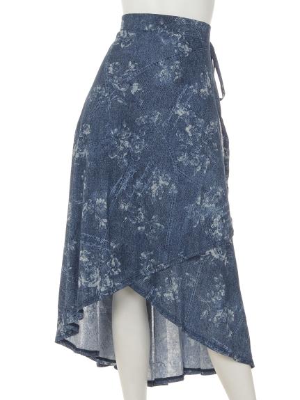 Tasha ruby (ターシャルビー) 花プリントラップヘムスカート ブルー