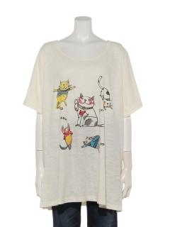ネコプリントTシャツ