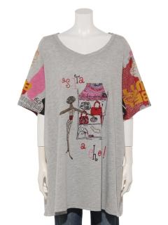プリント&ビーズロングTシャツ