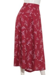 サイド飾りボタン花プリントスカート