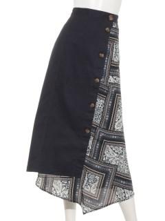 スカーフ柄イレギュラーヘムスカート