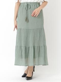 ラメ楊柳ティアードスカート