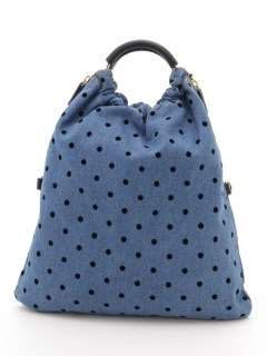 【HALIN】Dot Flocky x Denim Ring Tote