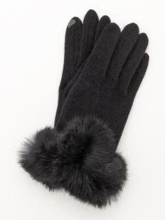 V字口毛ファー手袋