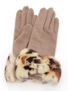 レオパード柄エコファーリボン手袋