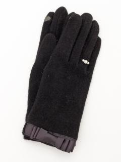 グログランテープ3連パール付手袋