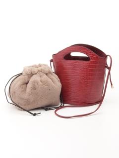 エコファー巾着付クロコ風型押シ2WAYクリ手トートバッグ