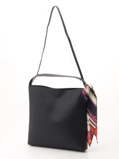 スカーフ付フェイクレザーショルダーバッグ/A4対応