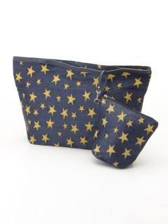 ポーチ付スターテキスタイル織バッグ