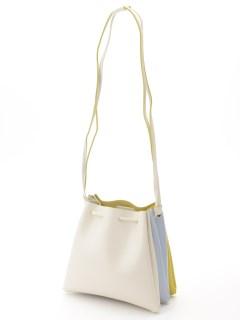 【HALIN】フェイクレザー配色キンチャクショルダーバッグ