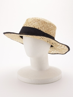 ラフィア透カシ柄編カンカン帽