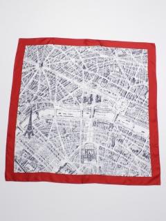パリ地図柄シルクスカーフ