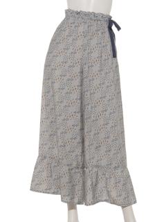 フラワーPT裾ギャザーフレアーパンツ