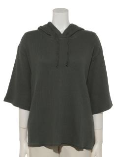 ワッフル5分袖フードTシャツ