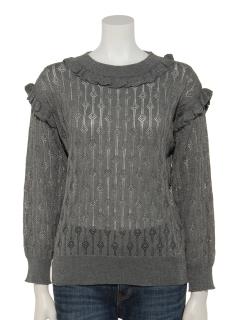 ラメ引き揃え透かし編みプルオーバー