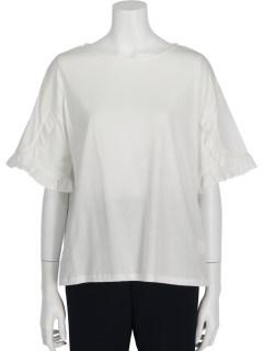 袖フリル切り替えTシャツ