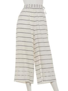 先染めボーダー袖刺繍パンツ