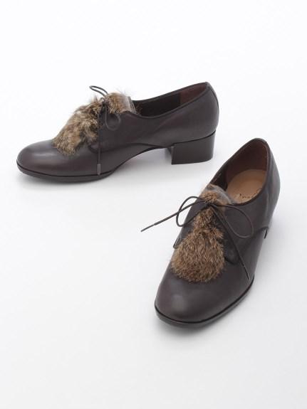 70%OFF apres by cavacava (アプレバイサヴァサヴァ) ファー付き紐靴 グレー