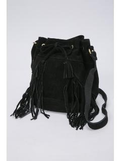 フリンジ使いカーフ巾着バッグ