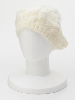 ポンポン付ケーブルベレー帽