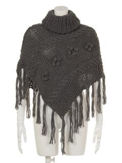 フリンジ付手編みポンチョ