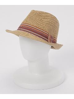 マルチボーダーリボン付中折れ帽
