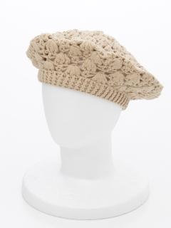花柄かぎ針編みベレー帽