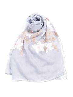 花刺繍綿麻ショール