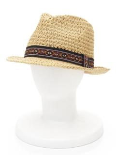 ネイティブ柄リボン付き中折れ帽