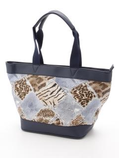 豹&デニムパッチワーク柄トートバッグ
