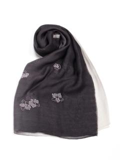 グラデ花柄刺繍ショール