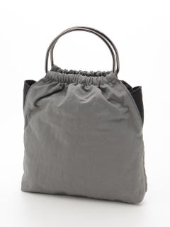 ラムレザー使いリングハンドル防水ナイロントートバッグ