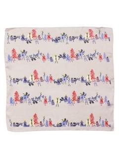 壁画風マルチモチーフ柄スカーフ
