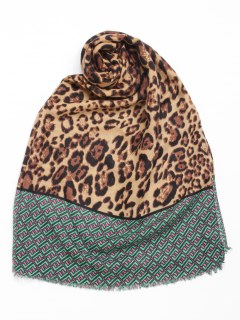ヘム幾何柄切換豹柄スカーフ