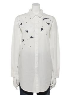 花&羽刺繍シャツ