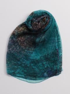 ブルーボカシ柄絹シフォンストール