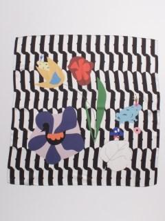 花&幾何ボーダー柄ショール