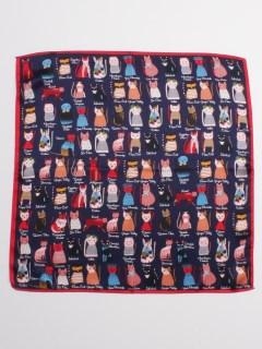 ネコモチーフ柄シルクスカーフ