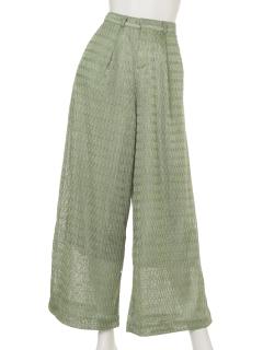 【1stline】マルチ編み柄ガウチョパンツ