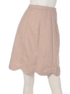 clear【2ndline】裾スカラップ膝上スカート
