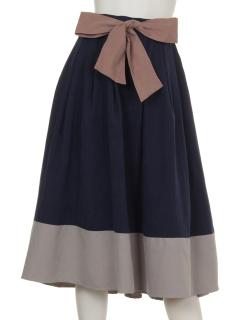clear配色デザインウエストリボンスカート
